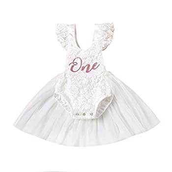 Newborn Baby Girl 1st Birthday Outfit One Ruffle Sleeveless Lace Romper Tutu Dress Backless Jumpsuit Bodysuit Clothes  White 3-6 Months