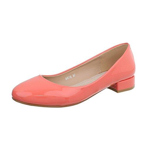 Ital-Design Klassische Ballerinas Damen-Schuhe Blockabsatz Coral, Gr 36, 8873-