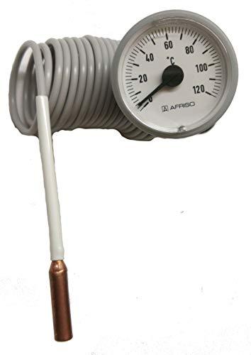 Kessel-Thermometer rund Ø37 mm, Anzeigebereich 0-120 °C m. Kapillarleitung 2000mm