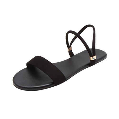 Heheja Donna Sandali Peep Toe Basse Piatto Sandali da Spiaggia Tempo Libero Scarpe Estive Nero Asia 40 (25cm)