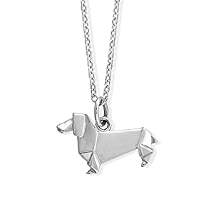 Boma Jewelry Sterling Silver Origami Dachshund Wiener Dog Necklace, 18 Inches