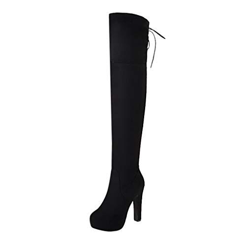 BaZhaHei Damen Schuhe Mode Neue Oberschenkel Hohe Stiefel Overknee Stiefel Flock High Heels Schuhe Langschaftstiefel Winter Bequem niedriger Absatz Overknee Stiefel