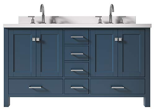 """ARIEL 61"""" Inch Double Vanity in Midnight Blue with 1.5"""" Inch Straight Edge Pure White Quartz Countertop 
