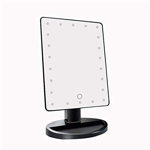 Make-upspiegel op batterijen, led-make-upspiegel met verlichting, verlichte spiegel met touchscreen, verduistering 180 ° instelbare rotatie, zwart, wit, roze voor dagelijks gebruik op