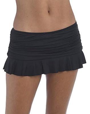 La Blanca Women's Island Goddess Skirted Ruffle Hipster Bikini Swimsuit Bottom, Black, 8