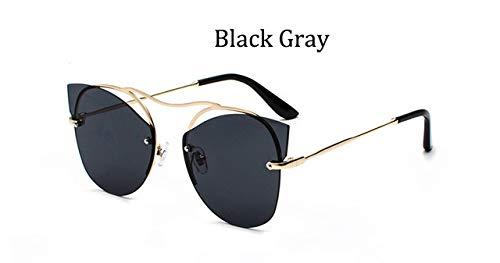HPLDEHA 2020 Espejo de la Manera Mujeres Tendencia Gafas de Sol sin Montura Ojo de Gato Gafas de Sol Marco Damas Glasse Paquete (Objektiv-Farbe : Black Gray)