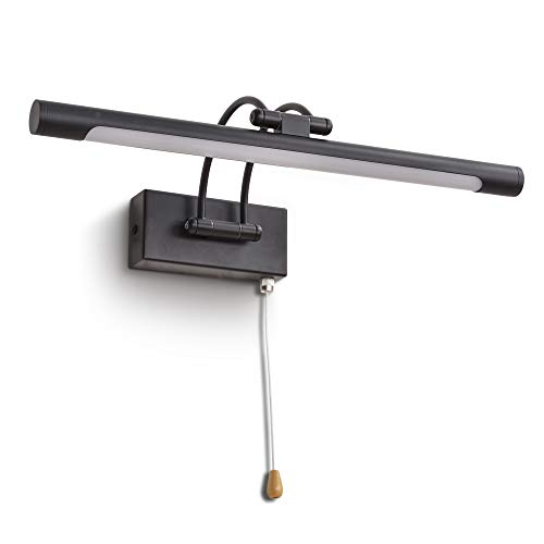 MantoLite LED Lámparas de Pared 8W,Dormitorio Iluminación de Interior Con Cabeza de Lámpara Giratoria e Interruptor,Baño Espejo Apliques de Pared 40CM 560LM Blanco Cálido(Negro, 40CM)