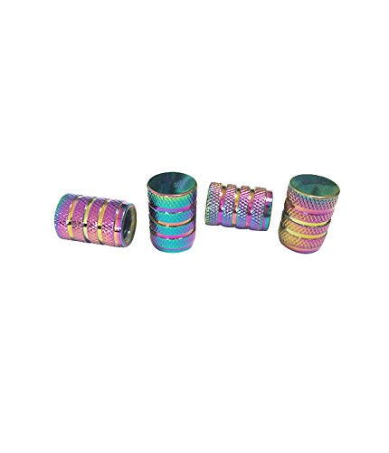 DM Autoteile Aluminium Auto Ventilkappen Reifenventil-Staubkappen Alu Ventil Universal 4-er Set versch. Farben mit Dichtung (Multicolour/chromatiert)