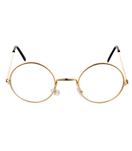Weihnachtsmann Nickel Brille mit Gläsern - Gold - Partybrille zu Oma, Opa und Lehrer Kostümen