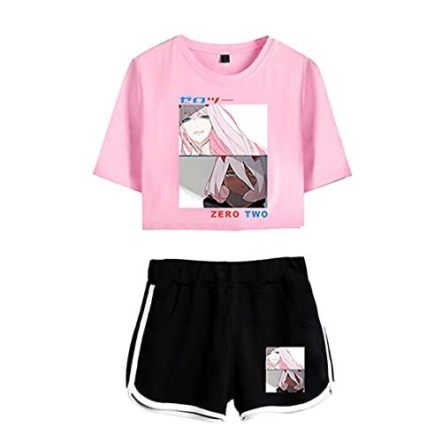 Mujeres Sexy Verano Manga Corta Dos Piezas Conjunto Camisetas + Pantalones Cortos Darling in The FranXX (10,L,FR/ES,Letras,Adulto,Femenino,L,Regular,Regular,Spring-Summer)