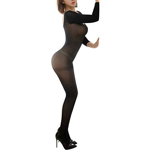 SamMoSon Bodystocking Femminile Body Crotchless Maniche Sexy Calza di Seta Guarda a Lungo, Sexy Hot Donna per Sesso Uomo Taglie Hard Natale Biancheria Intima Lingerie Forti (Nero Taglia Unica)