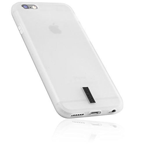 mumbi Hülle kompatibel mit iPhone 6 / 6S Handy Hülle Handyhülle, transparent weiss mit schwarzem Streifen