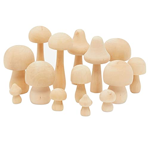 Mini Wooden Mushrooms for Home Decor, Unfinished Wood Peg Dolls for Crafts (7 Sizes, 14 Pieces)