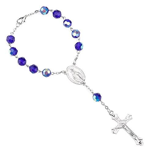 YITIANTIAN Pulsera de Cruz de Rosario de Cristal Azul para Mujer, joyería católica