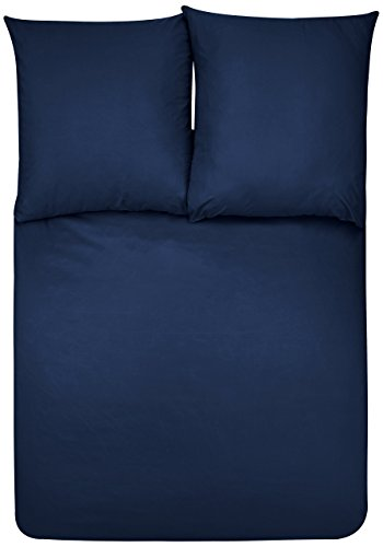 AmazonBasics - Bettwäsche-Set, Mikrofaser, 155 x 220 cm - Marineblau