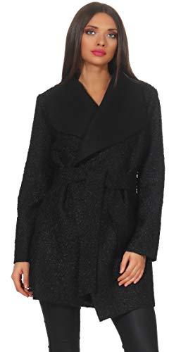 Mississhop 292 Damen eleganter Wollmantel Cardigan Trenchcoat mit Gürtel Coat OneSize 36 38 40 42 Schwarz