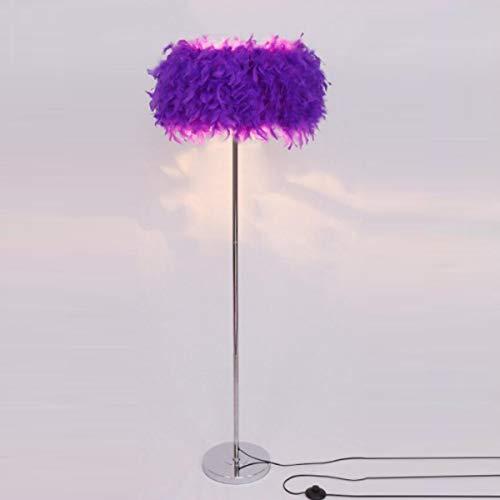 GDLight Feder Stehleuchte Moderne Romantische Feder Stehen Stehlampe Nachtlesestehlampe für Wohnzimmer Schlafzimmer E27 (weiß, rosa, lila),Lila
