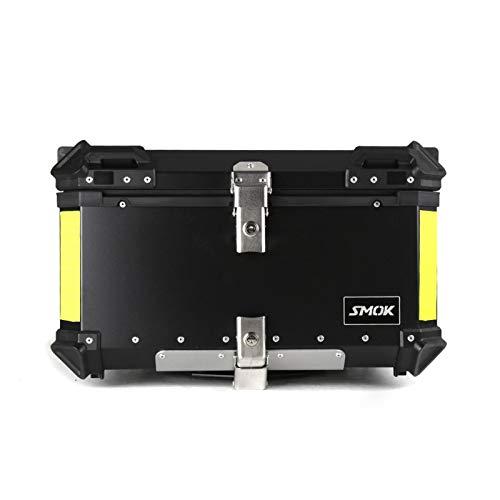 Caja De Casco De Moto Caja de Almacenamiento de Equipaje Trasero Superior de Motocicleta 60L Caja Impermeable Maletero de Herramientas de Aluminio (Color : Negro)