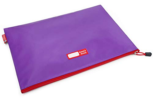 Rough Enough Large Document Bag Pouch File Folder Organizer Storage for Legal Size A4 Paper with Zipper in Waterproof Plastic Purple