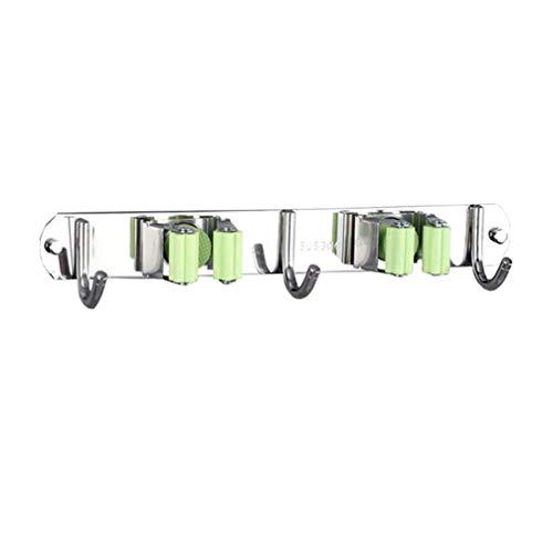 DOITOOL Portascope da Muro in acciaio inossidabile Portascopa e Portaspazzole Da Muro Supporto Per Scopa e Spazzolone Porta Scope con gancio de Parete per manico rastrello (2 ripiani,3 ganci)