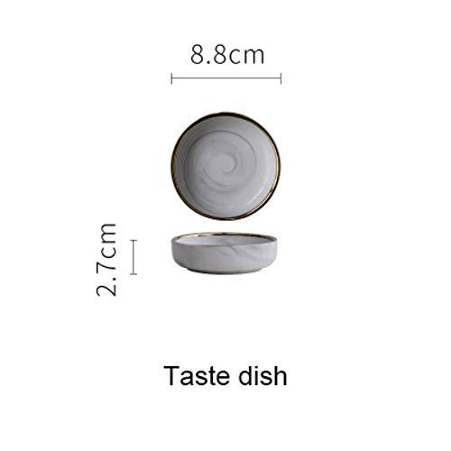 LLAAIT Keramik Teller Suppenschüssel mit goldenem Rand 7 8 9 Zoll Home Dish Geschirr europäischen Stil Design, Schale