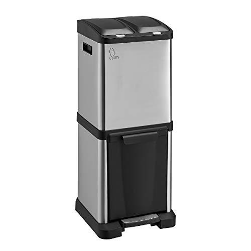 SVITA Edelstahl Mülleimer Treteimer Abfalleimer Mülltrennung mit Schubfächern (32 Liter 2x8L + 16L)