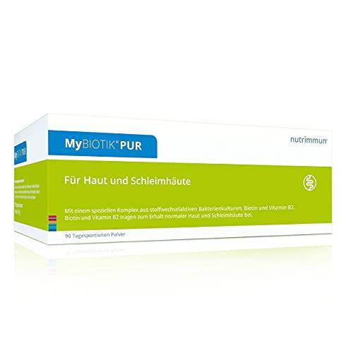 nutrimmun MyBIOTIK® PUR (90 x 2 g) Pulver – Nahrungsergänzungsmittel mit einem speziellen Komplex aus stoffwechselaktiven Bakterienkulturen, Biotin und Vitamin B2 – Für Haut und Schleimhäute