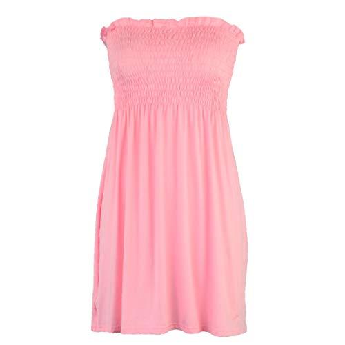 aihihe Women's Strapless Maxi Dress Plus Size Tube Top Long Skirt Sundress Cover Up Pink