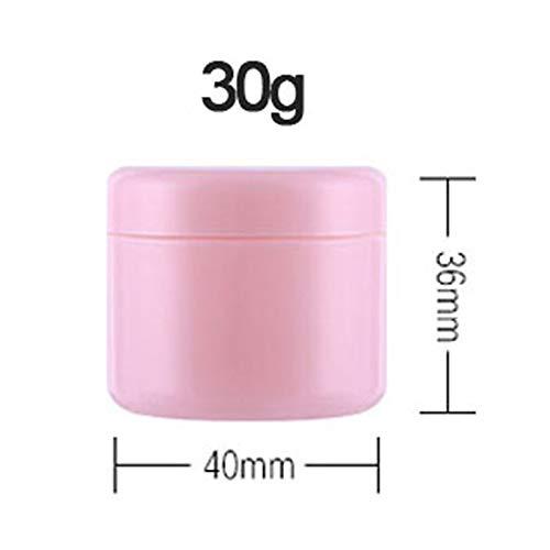 Geteilte Flasche 100 stücke 10g / 20g / 30g / 50g Kunststoff leer Make-up Jar Topf Nachfüllbare Probe Flaschen Reise Gesicht Creme Lotion Kosmetikbehälter Mini-Flaschen (Color : 30g Pink)