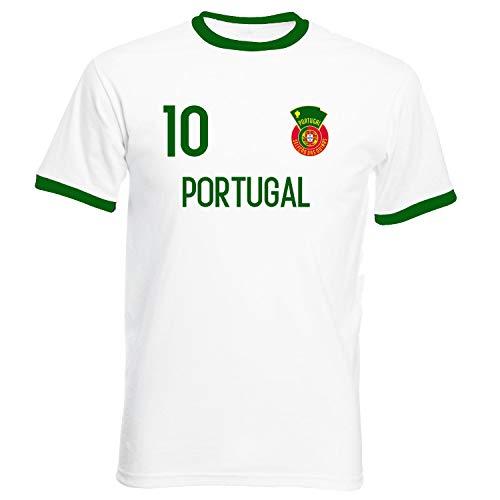 Nation Portugal Ringer T-Shirt Trikot Wappen NO. 10 W-G (L)