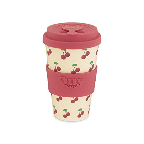 QUY CUP. Ciliegia. Kaffeebecher to Go, Travel Mug, Bamboo Cup als Mehrweg Tasse für unterwegs, Coffee to go Becher, nachhaltiger Becher mit Deckel und Silikonmanschette, 400ml.