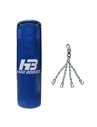 Hard Bodies Classic Punching Bag Unfilled with Chain (Blue, 4 Feet)