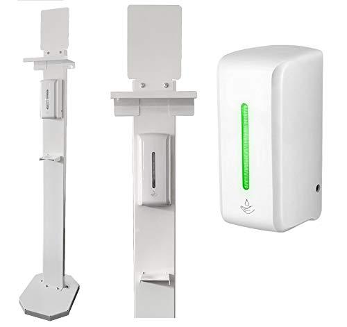 Dispenser gel disinfettante mani + COLONNINA in ferro laccato | PROFESSIONALE | Dispenser di sapone a infrarossi | Dosatore automatico gel igienizzante | CONTACTLESS | Fissaggio colonnina o a parete