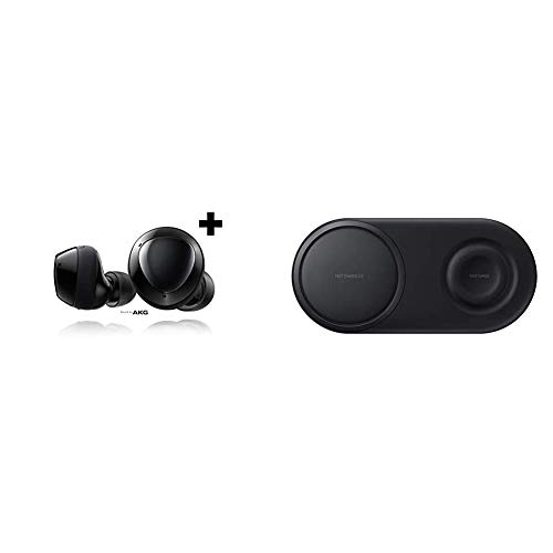 Samsung Galaxy Buds+ Plus, True Wireless Earbuds w/Improved Battery and Call Quality, Black – US Version, SM-R175NZKAXAR & Wireless Charger Duo Pad, Fast Charge 2.0 - Black