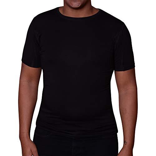 Sweatshield Herren Unterhemd mit Schwei/ßeinlagen Kurzarm Anti-Schwei/ß Herrenunterhemd Ausschnitt wei/ß Micromodal T-Shirt mit V