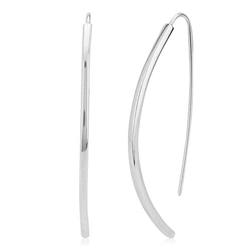 Vanbelle Sterling Silver Jewelry Curved Threader Earrings with Rhodium Plating for Women and Girls