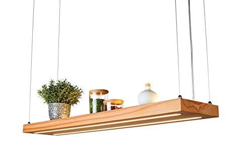Denidro Lights | LED Holz Hängelampe | Tribus | 3-flammige Dimmbare Pendelleuchte Esstisch | Deckenlampe Wohnzimmer mit LED Streifen | aus massiver Kernbuche | als Regal verwendbar | Kern-Buche, 80 cm