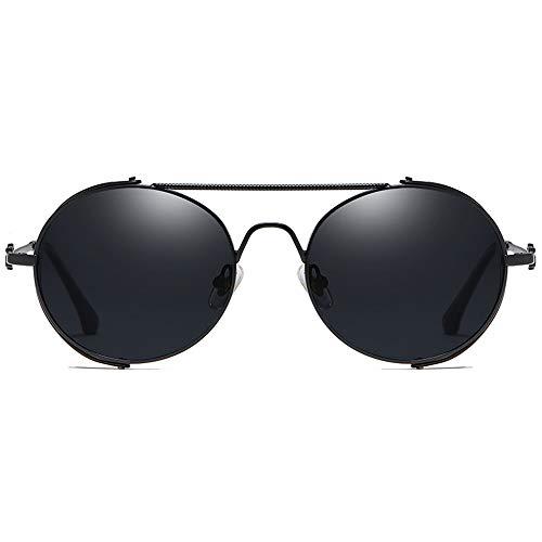 LCSD Gafas de sol Personalidad Marco Casual Moda Salvaje Nuevo Material Metal Gafas De Sol Negro/Dorado Marco Negro Lente Hombres Y Mujeres Con La Mismo Gafas De Sol De Conducción (Color: Negro)