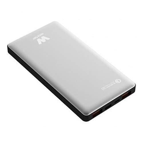 Woxter QC 10500 - Batería portátil (Conexión QC, 10.500 mAh, aleación de aluminio, compatible con Quick Charge 3.0) color plata