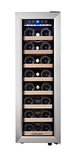 Kalamera 75ASS Weinkühlschrank • Kompressionskühler • Eine Zonen • Volumen: 65 Liter • 21 Flaschen • Kühltemperatur: 5-18 °C • 8 x Holzeinschub