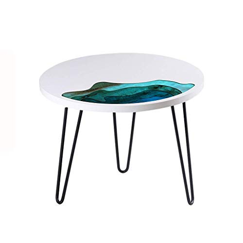 PAKUES-QO Household Solid Wood Coffee Table Round Small Round Table Low Table Creative Resin Small Coffee Table (Size : 70cm)