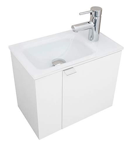 Gäste-WC Waschtisch auf Optiwhite Glas weiss lackiert mm 440x260 mit Unterschrank