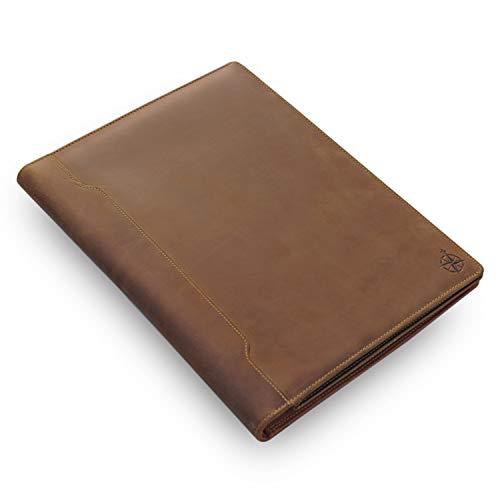 Padfolio De Cuero - Organizador Profesional y Carpeta de Currículum Vitae, Impresionante Carpeta de Documentos de Cuero en 2 Tonos Con Almohadilla de Escritura. Regalo Ideal Para Hombres y Muj