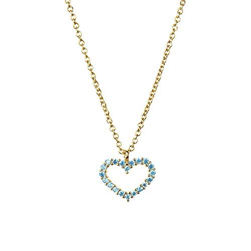 925 plata marrón púrpura colgante collar cadena larga con corazón pequeñas mujeres joyería para rock punk joyas-azul