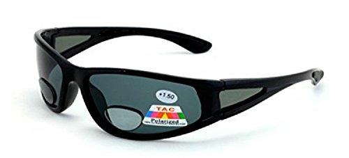 Mens Wrap Around Sport Sunglasses Polarized Plus Bifocal Reading Lens Black - 2.25