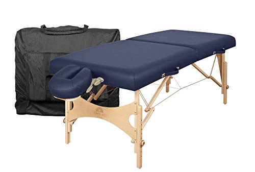 """Oakworks Portable Massage Table Nova Package, Sapphire (Dark Blue), 31"""", Premium Bed w/Face Rest Cradle, Boince Face Cushion & Carry Case, Spa-Level Comfort, Adjustable 24""""-34"""" H, Made in USA"""