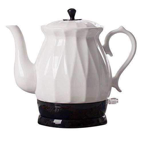 Hervidores - Tetera Blanca inalámbrica eléctrica de cerámica - Jarra Retro de 1.7L, 1350W Hierve Agua rápidamente para té, café, Sopa, Avena - Base removible, Protección para hervir en seco