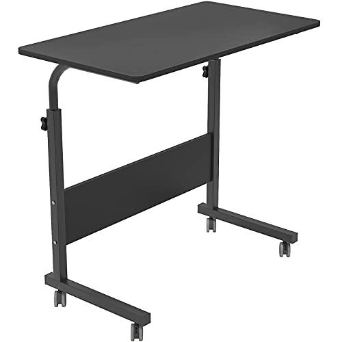 SogesHome 80 x 40 cm Table de Travail Mobile Bureau d'ordinateur de Support réglable en Hauteur Table d'appoint pour canapé-lit Hôpital Infirmerie Lecture Manger, Noir,05#1-80BK-SH