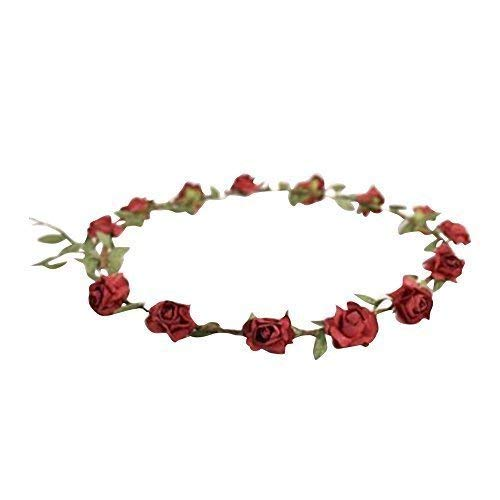 Ladies Floral Flower Festival Wedding Hair Garland Flower Crown Head Band 9 Colours (Red)