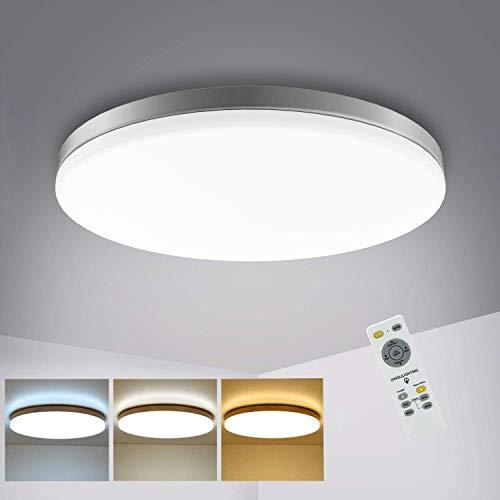 Depuley 24W LED Deckenleuchte Dimmbar mit Fernbedienung, 3 Farbenwechsel, Dünn Wohnzimmerlampe Decke 80% Energieeinsparung für Wohnzimmer, Schlafzimmer, Kinderzimmer